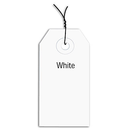 "Office Depot® Brand Prewired Color Shipping Tags, #4, 4 1/4"" x 2 1/8"", White, Box Of 1,000"