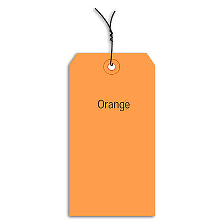 """Office Depot® Brand Prewired Color Shipping Tags, #4, 4 1/4"""" x 2 1/8"""", Orange, Box Of 1,000"""