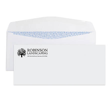 "Custom #10, 1-Color, Security Tint Business Envelopes, 4-1/8"" x 9-1/2"", White Wove, Box Of 500"