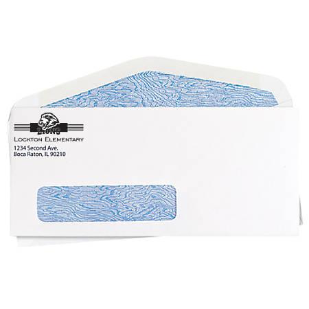 Window Security Business Envelopes, White, No. 10, Window Security Tint Business Envelope, White Wove 1-Color Imprint, Box of 500