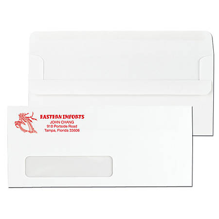 "Custom 1-Color, Single Window Self Seal Business Envelopes, #10 (4 1/8"" x 9 1/2""), White Wove, Box Of 500"