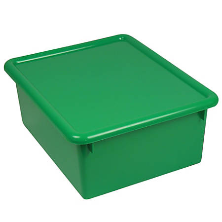 """Stowaway® 5"""" Letter Box, With Lid, 5""""H x 10 1/2""""W x 13""""D, Green, Pack Of 3"""
