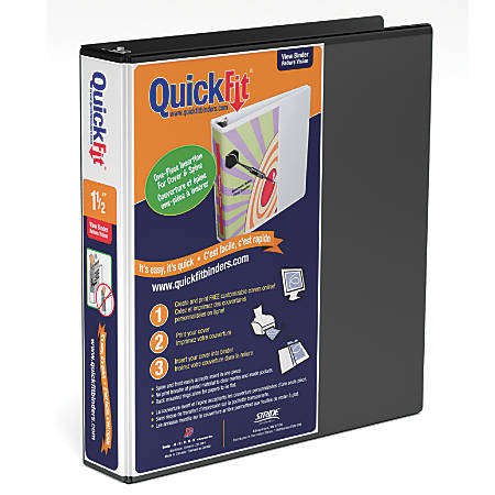 """Stride® QuickFit® Angle D-Ring View Binders, 350-Sheet Capacity, 1 1/2"""" Rings, 48% Recycled, Black"""