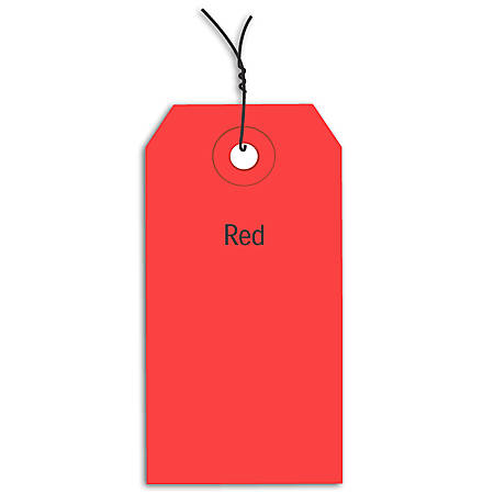 "Office Depot® Brand Prewired Color Shipping Tags, #5, 4 3/4"" x 2 3/8"", Red, Box Of 1,000"