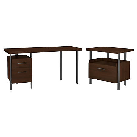 """Bush Furniture Architect 60""""W Writing Desk With Lateral File Cabinet, Modern Walnut, Standard Delivery"""