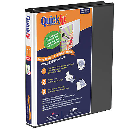 "Stride® QuickFit® Round-Ring View Binder, 1"" Rings, 200-Sheet Capacity, Black"