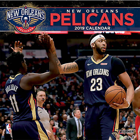 """Turner Sports Monthly Wall Calendar, 12"""" x 12"""", New Orleans Pelicans, January to December 2019"""