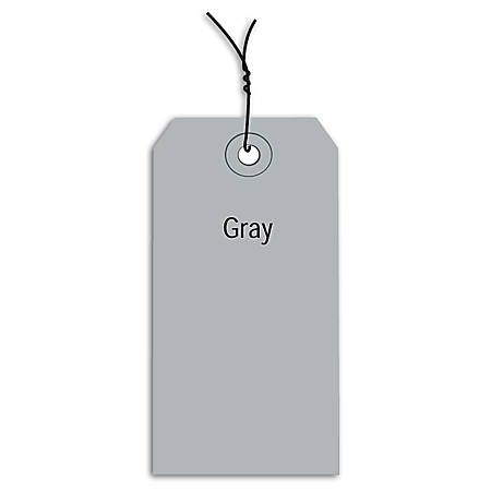 """Office Depot® Brand Prewired Color Shipping Tags, #6, 5 1/4"""" x 2 5/8"""", Gray, Box Of 1,000"""