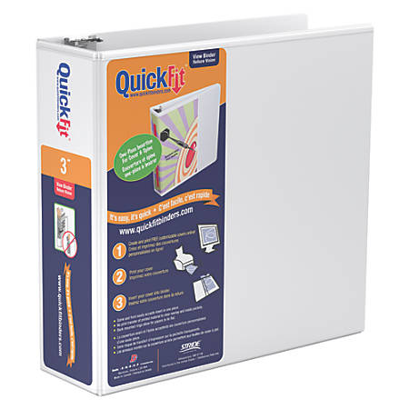 "Stride® QuickFit® Round-Ring View Binder, 47% Recycled, 3"" Rings, 600-Sheet Capacity, White"