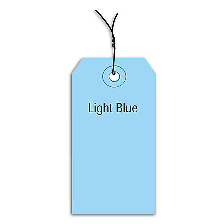 "Office Depot® Brand Prewired Color Shipping Tags, #7, 5 3/4"" x 2 7/8"", Light Blue, Box Of 1,000"