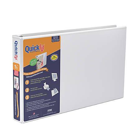"Stride® QuickFit® D-Ring Overlay Binders, Ledger, 1 1/2"" Rings, 11"" x 17"" Sheet Size, 61% Recycled, White"