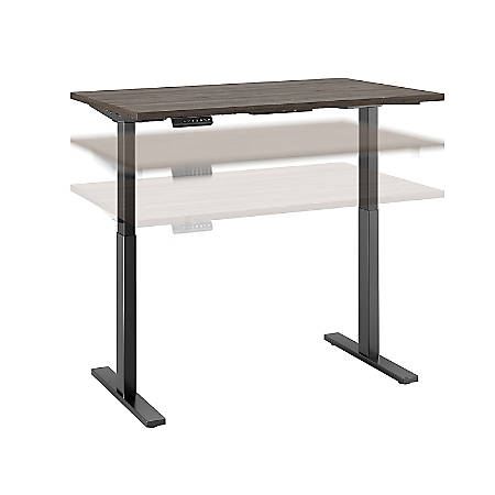 "Bush Business Furniture Move 60 Series 48""W x 30""D Height Adjustable Standing Desk, Cocoa/Black Base, Premium Installation"