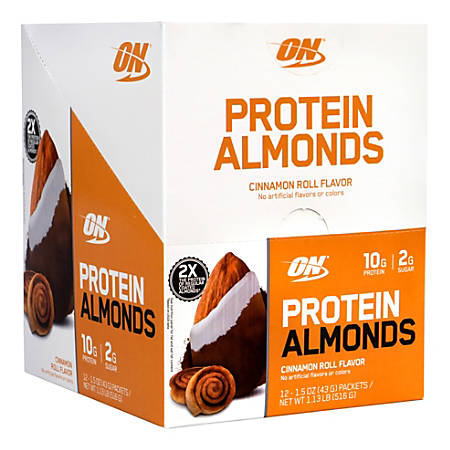 Optimum Nutrition Protein Almonds, Cinnamon Roll, 1.5-Oz Packets, Box Of 12 Packets