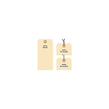"""Office Depot® Brand Manila Shipping Tags, 13 Point, #1, 2 3/4"""" x 1 3/8"""", Box Of 1,000"""