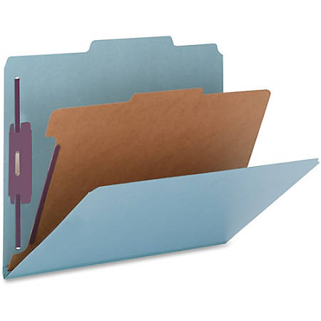 "Nature Saver Color Classification Folders, 2/5"" Tab Cut, Right Tab Position, Legal Size , Blue, Box Of 10"
