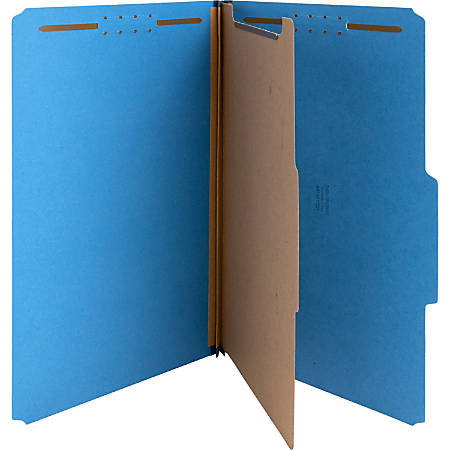 """Nature Saver Color Classification Folders, 2/5"""" Tab Cut, Right Tab Position, Legal Size , Dark Blue, Box Of 10"""