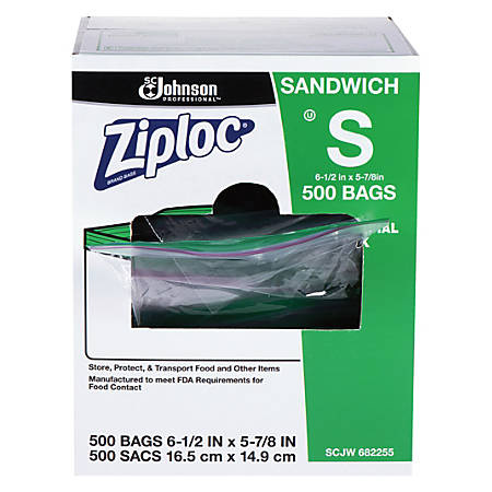 Ziploc® Resealable Sandwich Bags, Clear, Box Of 500