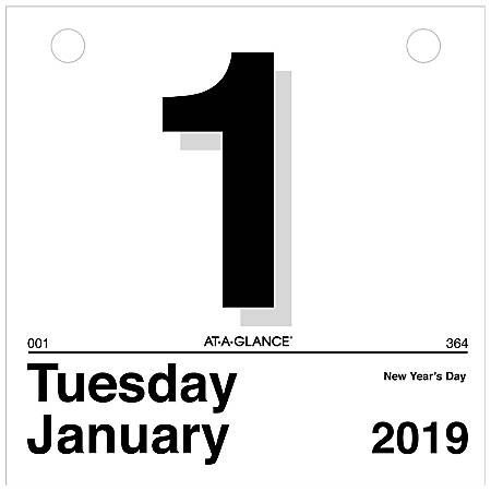 "AT-A-GLANCE® Today Is Daily Wall Calendar Refill, 6"" x 6"", January to December 2019"
