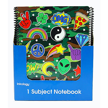 """Inkology Corey Paige Notebooks, 8-1/2"""" x 11"""", College Ruled, 140 Pages (70 Sheets), Assorted Designs, Pack Of 12 Notebooks"""