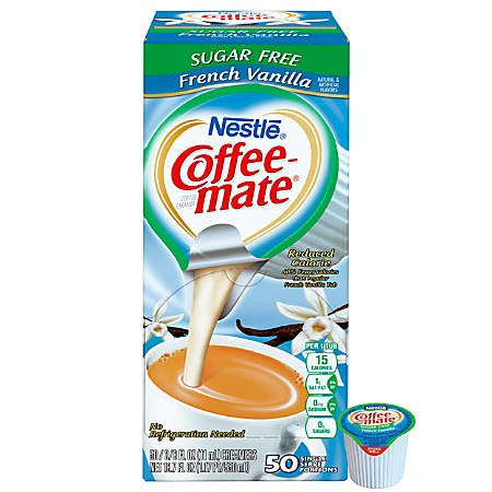 Coffee-Mate Sugar-Free French Vanilla Liquid Creamer Single-Serve Cups, 0.38 Oz, Box Of 50 Cups