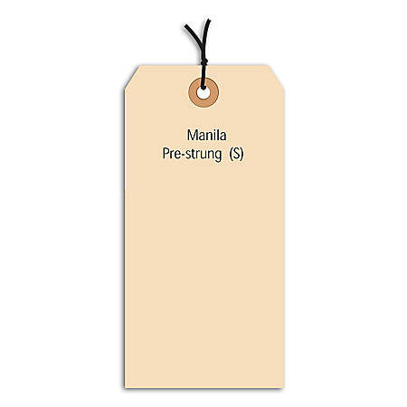 "Office Depot® Brand Prestrung Manila Shipping Tags, 13 Point, #8, 6 1/4"" x 3 1/8"", Box Of 1,000"