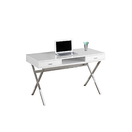 Monarch Specialties Contemporary Computer Desk With Criss-Cross Legs, Chrome/White