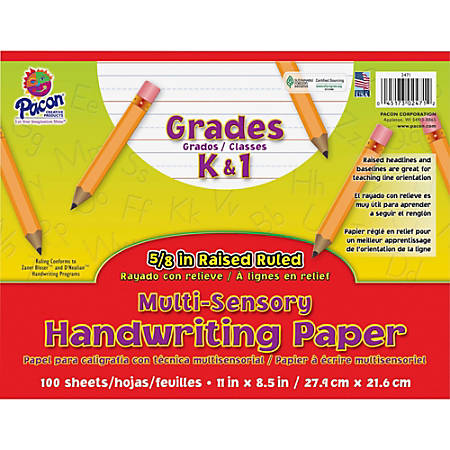 "Pacon Grades K - 1 Multi - sensory Handwriting Tablet - Letter - 11"" x 8.5"" - Wide Rule - 100 Sheets/Pack - White"