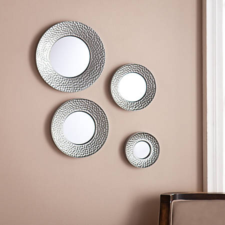 Southern Enterprises Silver Sphere Wall Mirrors Hammered