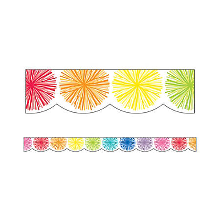"Schoolgirl Style Scalloped Bulletin Board Borders, 3' x 3"", Hello Sunshine Poms, 13 Strips"