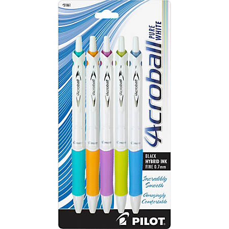 Pilot® Acroball Retractable Pens, Fine Point, 0.7 mm, White Barrel, Black Ink, Pack Of 5 Pens