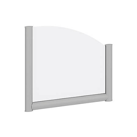"""Bush Business Furniture Frosted Desk Top Side Privacy Screen, 17 3/4""""H x 21 7/16""""W x 1 3/16""""D, White/Silver, Standard Delivery"""