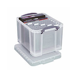 Really Useful Box Plastic Storage 32 Liters 19 X 14 12 Clear Office Depot