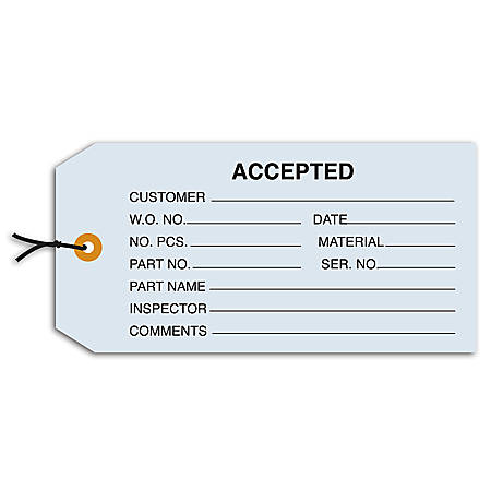 """Office Depot® Brand Prestrung Inspection Tags, """"Accepted,"""" 4 3/4"""" x 2 3/8"""", Blue, Box Of 1,000"""