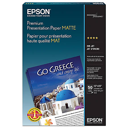 "Epson® Premium Presentation Paper, 13"" x 19"", 44 Lb, Pack Of 50 Sheets"