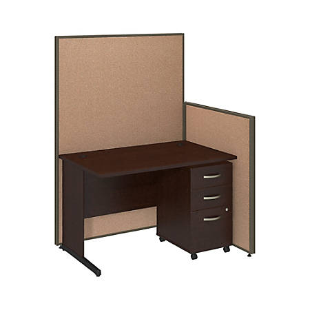 "Bush Business Furniture C Leg Desk and 3 Drawer Mobile Pedestal with ProPanels, 48""W, Harvest Tan, Standard Delivery"