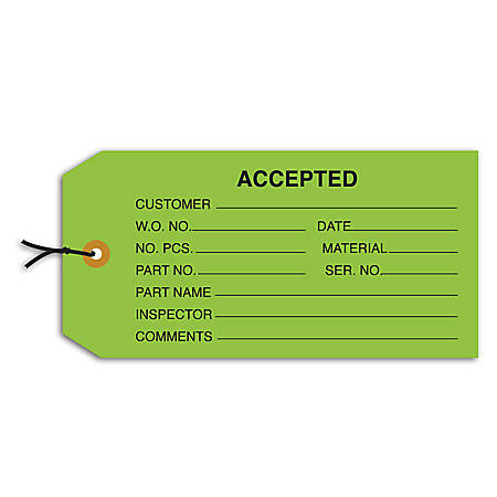"""Office Depot® Brand Prewired Inspection Tags, """"Accepted,"""" 4 3/4"""" x 2 3/8"""", Green, Box Of 1,000"""