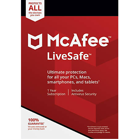 McAfee® LiveSafe™, For PC, Apple® Mac®, iOS, or Android, Unlimited Devices, 1-year subscription, eCard