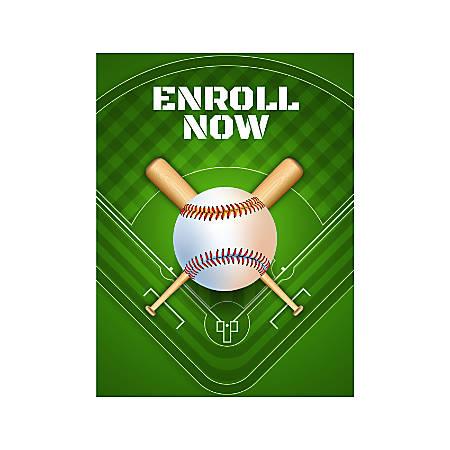 Plastic Sign, Enroll Now For Baseball, Vertical