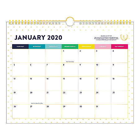 """Emily Ley Simplified® Gold Dot Monthly Wall Calendar, 15"""" x 12"""", January To December 2020, EL300-707"""