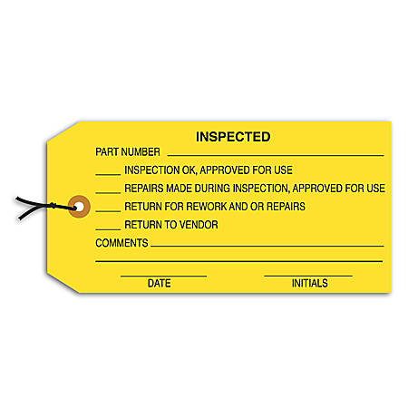 "Office Depot® Brand Prewired Inspection Tags, ""Inspected,"" 4 3/4"" x 2 3/8"" Yellow, Box Of 1,000"