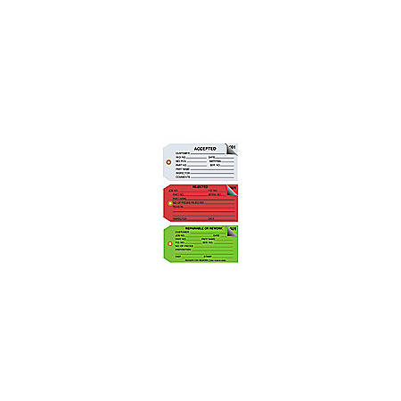 """Office Depot® Brand Inspection Tags, 2-Part Numbered, """"Accepted,"""" 4 3/4"""" x 2 3/8"""", Blue, Box Of 500"""