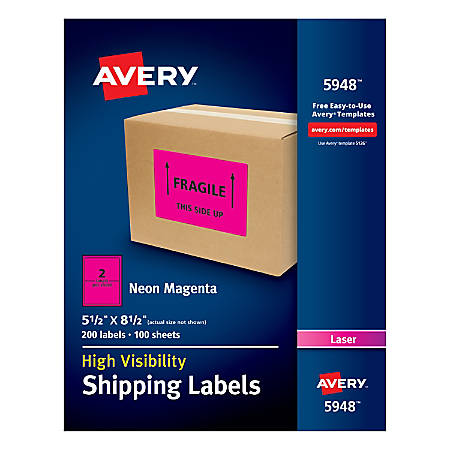 "Avery® High-Visibility Permanent Shipping Labels, 5948, 5 1/2"" x 8 1/2"", Neon Magenta, Pack Of 200"