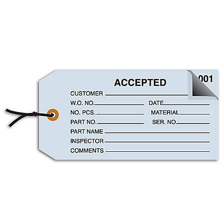 """Office Depot® Brand Prestrung Inspection Tags, 2-Part Numbered, """"Accepted,"""" 4 3/4"""" x 2 3/8"""", Blue, Box Of 500"""