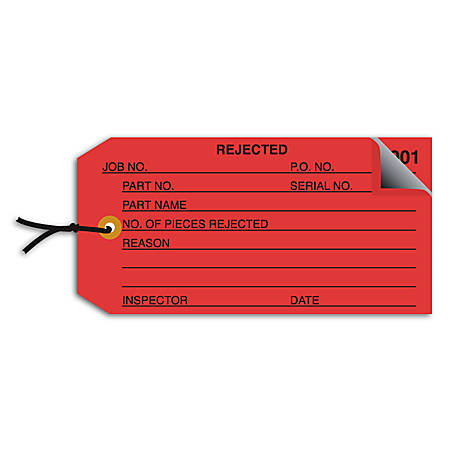 "Office Depot® Brand Prestrung Inspection Tags, 2-Part Numbered, ""Rejected,"" 4 3/4"" x 2 3/8"", Red, Box Of 500"