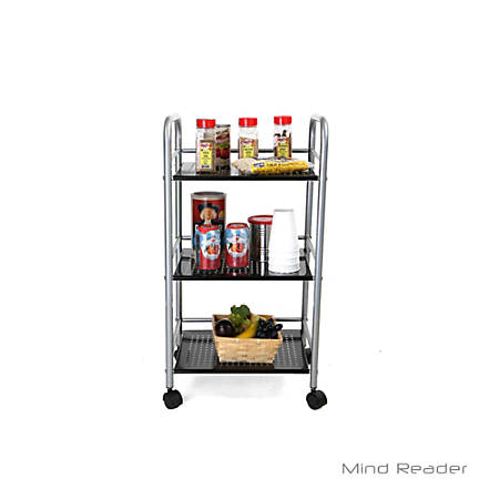 Mind Reader 3-Tier Stainless-Steel Kitchen Trolley, Silver