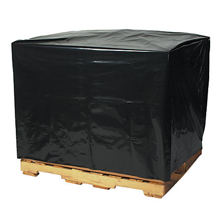 "Office Depot Brand 2 Mil Black Pallet Covers 54"" x 44"" x 76"", Box of 50"