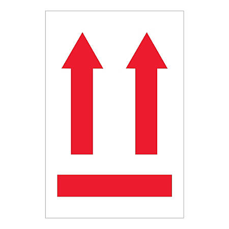 "Tape Logic International Safe-Handling Labels, 2 Up Arrows Over Red Bar, Rectangular, IPM501, 4"" x 6"", Multicolor, Roll Of 500 Labels"
