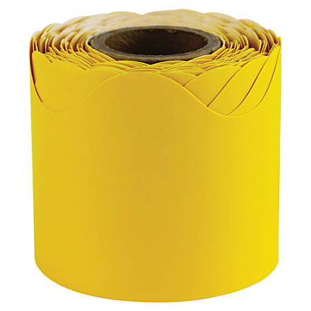 "Carson-Dellosa Plain Continuous-roll Scalloped Border - (Scalloped Border) Shape - 2.25"" Width x 432"" Length - Yellow - 1 Roll"