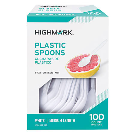 Highmark® Medium-Length Plastic Spoons, Pack Of 100