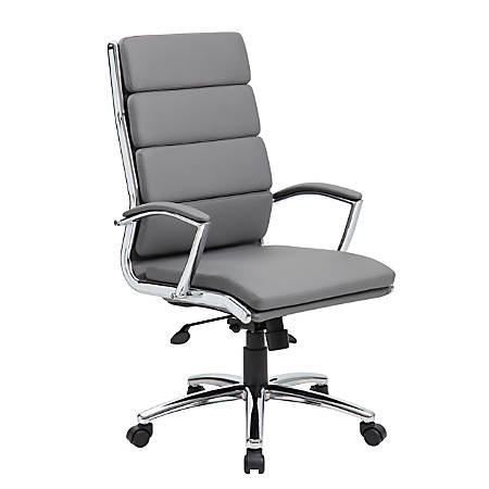 Boss Office Products CaressoftPlus™ Vinyl High-Back Chair, Gray/Chrome